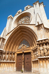 Entrance to Cathedral of Tarragona. Roman Catholic church in Cat