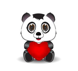 cute panda holding a hearth sign