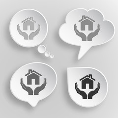 home in hands. White flat vector buttons on gray background.