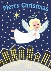 angel flying over the city