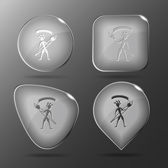 Ethnic little man with brush. Glass buttons. Vector illustration