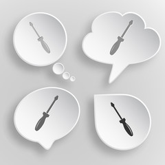Screwdriver. White flat vector buttons on gray background.
