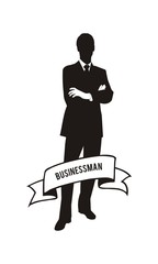 vector businessman silhouette with ribbon