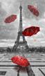 Leinwanddruck Bild - Eiffel tower with flying umbrellas.