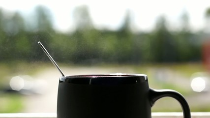 Smoke from a cup of hot coffee