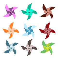 Set of 9 colorful pinwheels