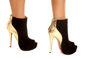woman gold black shoes