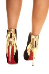 back gold shoes walking