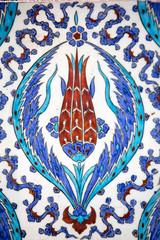 Macro view of tiles in Rustem Pasa Mosque, Istanbul