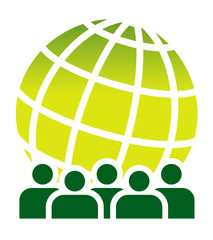 Green global meeting sign