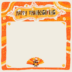 Happy Thanksgiving postcard, background, ornament or invitation