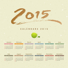 Calendar 2015 text paint brush on mulberry paper