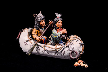 North American Indian Canoe Statue