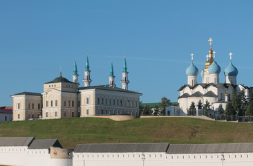 Hierarchal house, mosque and cathedral. Kazan, Tatarstan