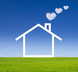 Haus mit Herzchenrauch
