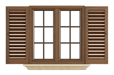 Wooden window on white
