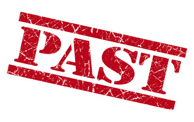 past red grunge stamp isolated on white