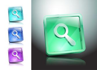 Vector Glass Magnifier Icon Matte Button