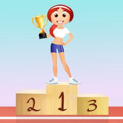 Girl on podium