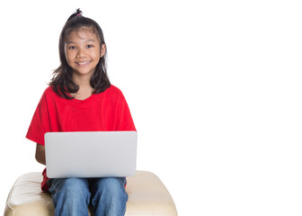 Young Asian girl with a laptop over white background