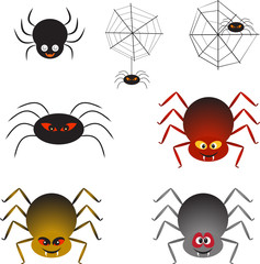 Spiders Isolated Ilustratios