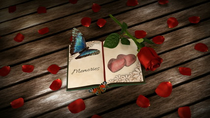 memories concept - book, rose and animated butterflies on wooden