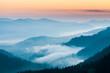 Leinwandbild Motiv fog and cloud mountain valley landscape