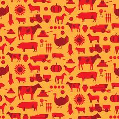 Seamless farm vector duotone pattern