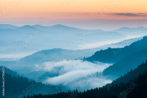 fog and cloud mountain valley landscape © DmytroKos