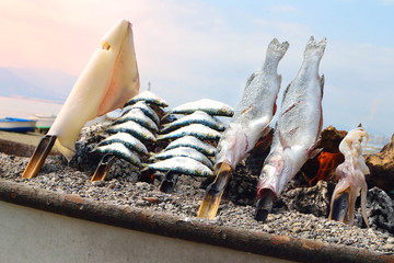fish barbecue on the beach