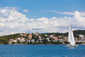 Ciovo island, Trogir area, Croatia view from the sea