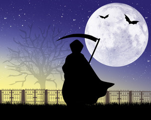 Man with scythe of Halloween