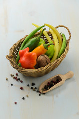 Peppers, walnut and green beans