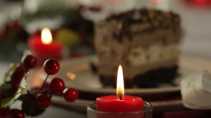 Cake on Christmas table. Variable focus
