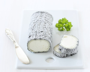 French goat cheese covered with ash