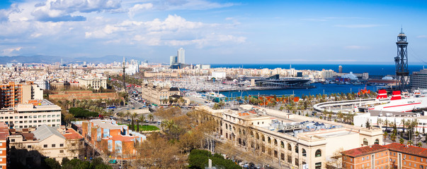 Barcelona city with Port Vell from Montjuic
