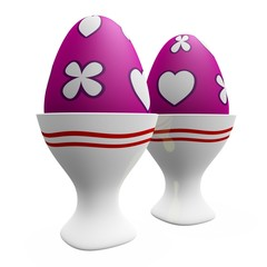 Painted Easter Eggs in Ceramic White Egg Cups