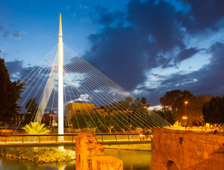 Footbridge in night. Murcia