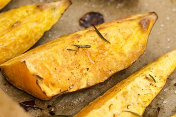 Portion of fresh baked sweet potato wedges