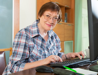 Elderly woman working with computer