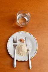 garlic, water and rice