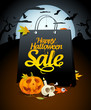 Halloween sale design with festive attributes.