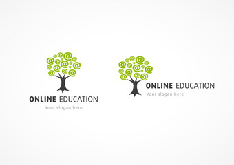 Online Education logo internet tree