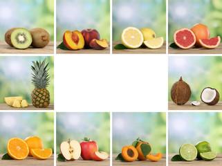 Früchte und Obst Collage mit Apfel, Orange und Zitrone mit Text