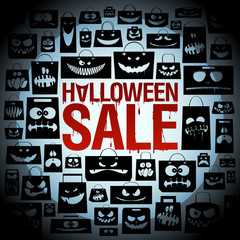 Halloween sale design with paper bags.