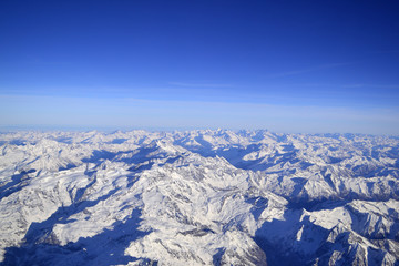Aerial view of a mountain ridge in winter