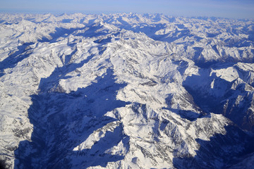 Aerial view of the winter Alps