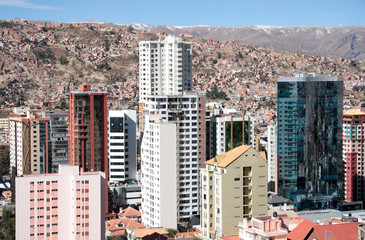 Skyscrapers of La Paz in Bolivia, South America