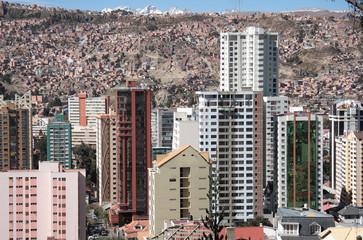 Modern buildings of La Paz in Bolivia, South America