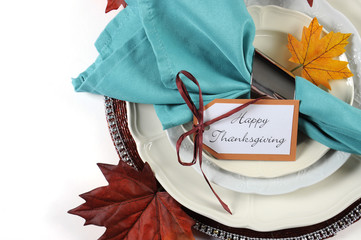 Happy Thanksgiving dining table place setting